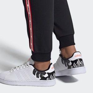 Adidas Advantage white black floral sneakers 8.5
